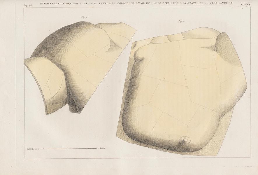 Le Jupiter Olympien - Pl. XXX. Démonstration des procédés de la statuaire colossale en ivoire, appliqués au Jupiter Olympien en ivoire (1815)
