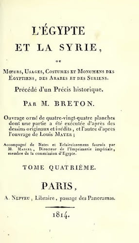 French - L'Egypte et la Syrie, ou, Moeurs, Usages, Costumes Vol. 4
