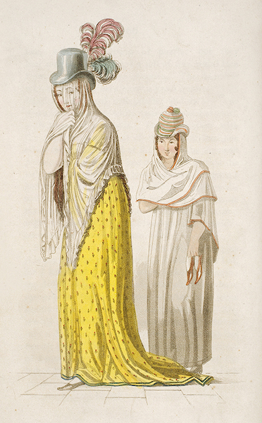 Letters from Buenos Ayres and Chili - Walking dress of a lady of rank & her servant, of Chili (1819)