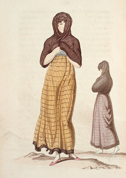 Letters from Buenos Ayres and Chili - Home dress of a lady of rank & her servant, of Chili (1819)