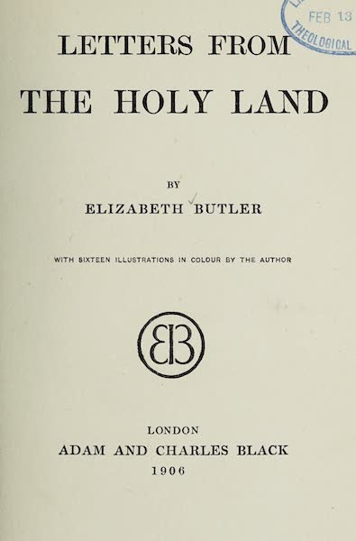 Letters from the Holy land - Title Page (1906)
