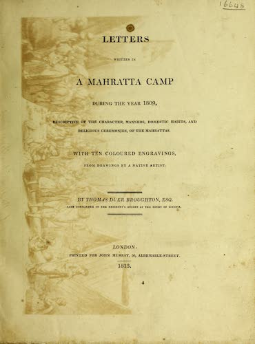 English - Letters Written in a Mahratta Camp