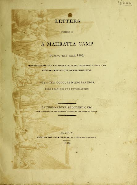 Letters Written in a Mahratta Camp - Title Page (1813)