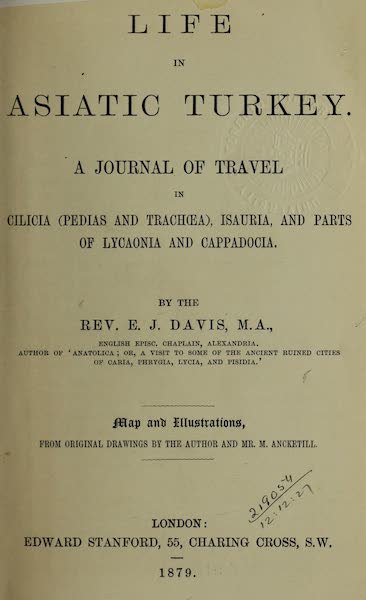 Life in Asiatic Turkey - Title Page (1879)