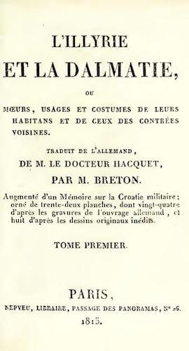 Costume - L'Illyrie et la Dalmatie, ou, Moeurs, Usages et Costumes Vol. 1