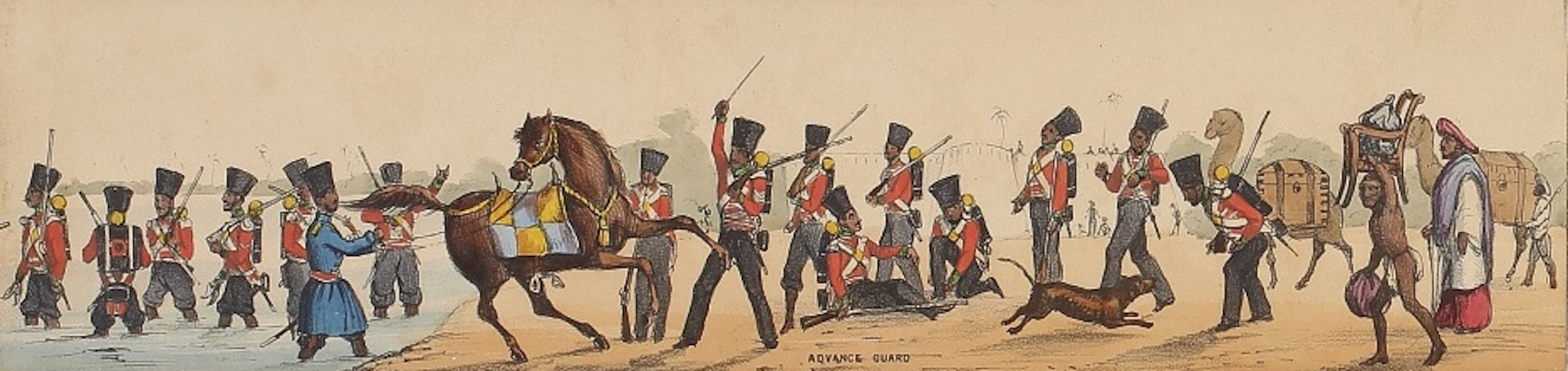 Line of March of a Bengal Regiment of Infantry - Panorama XII (1840)