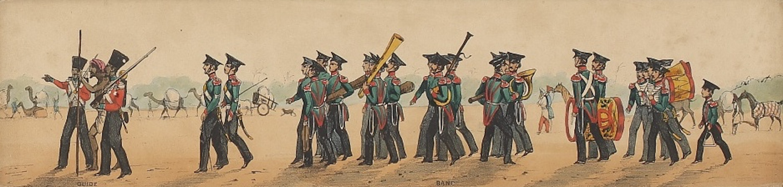 Line of March of a Bengal Regiment of Infantry - Panorama XIV (1840)