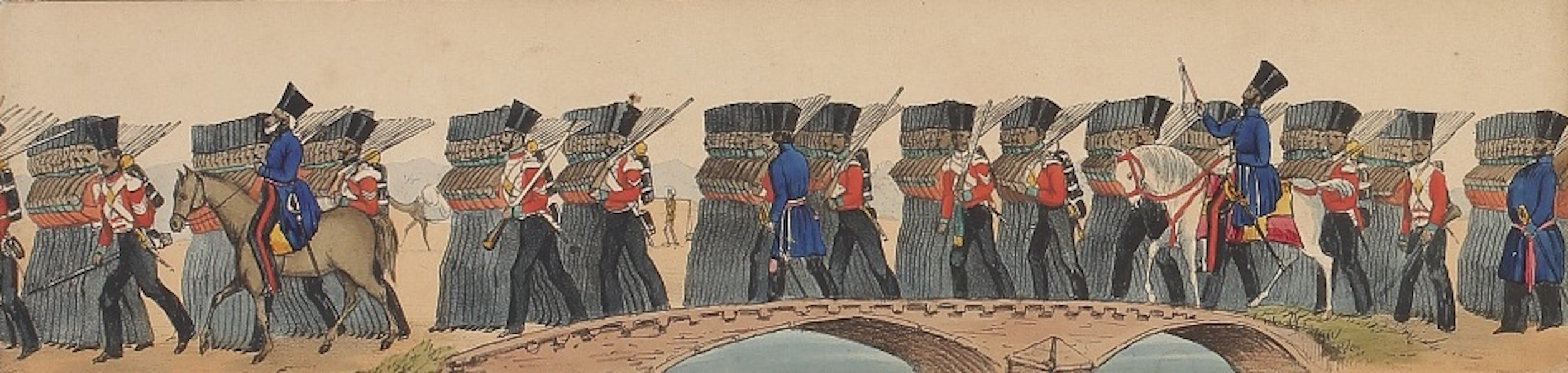 Line of March of a Bengal Regiment of Infantry - Panorama XVII (1840)