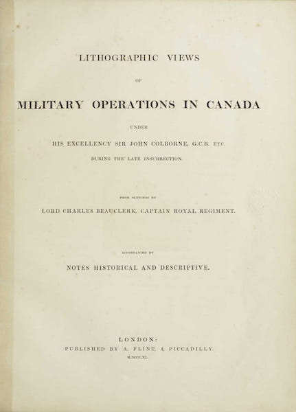 Lithographic Views of Military Operations in Canada - Title Page (1840)