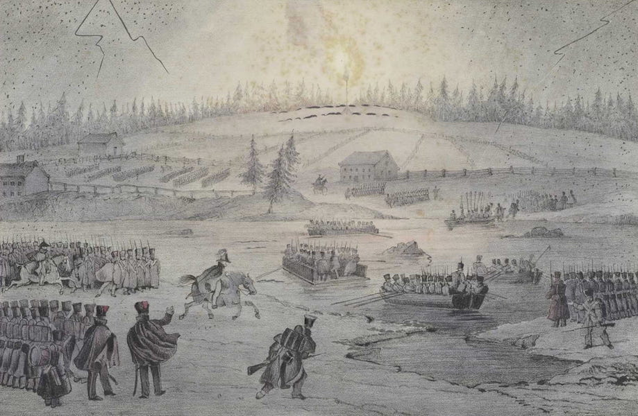 Lithographic Views of Military Operations in Canada - Passage of the Richelieu River by Night (1840)