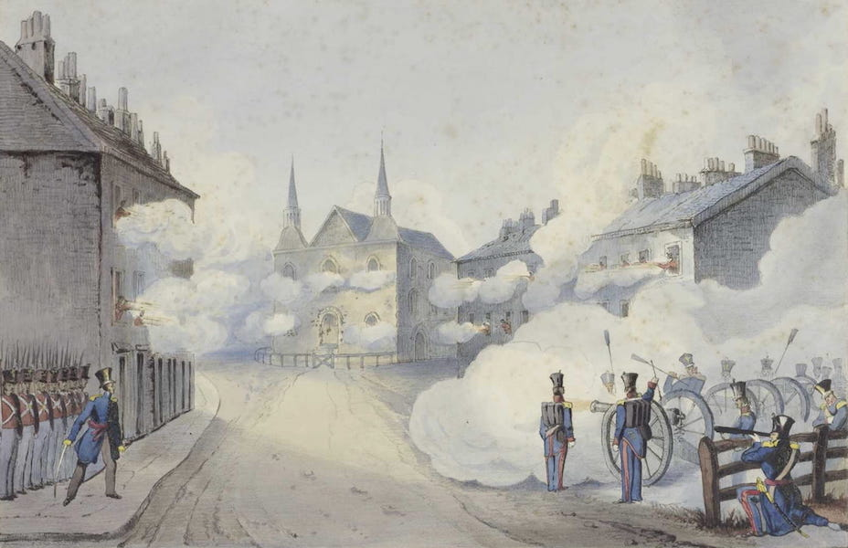 Lithographic Views of Military Operations in Canada - Front View of the Church of Saint-Eustache, Occupied by the Insurgents (1840)