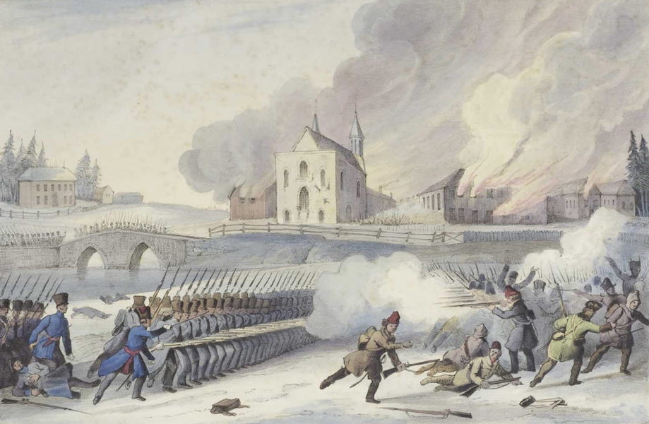 Lithographic Views of Military Operations in Canada - Back View of the Church of Saint-Eustache and Dispersion of the Insurgents (1840)