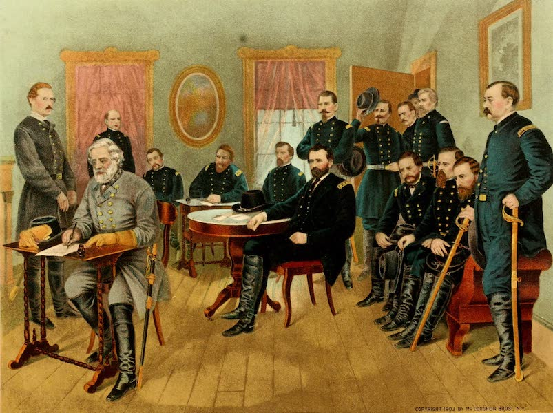 Lives of the Presidents - General Lee Signing the Terms of Peace Drawn up by General Grant (1903)