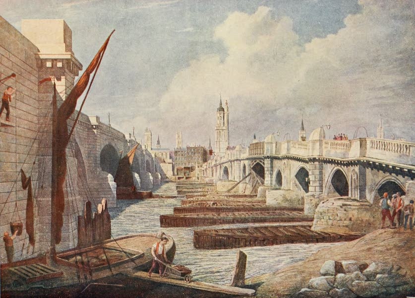 London on Thames in Bygone Days - View through an arch of Westminster Bridge (1903)