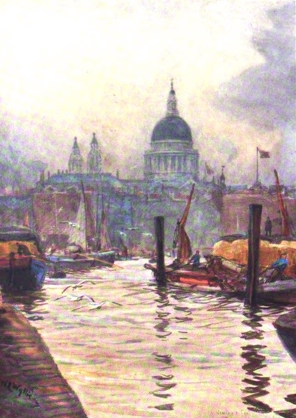 London to the Nore Painted and Described - St. Paul's, from Flower and Evrett's Wharf, Bankside (1905)