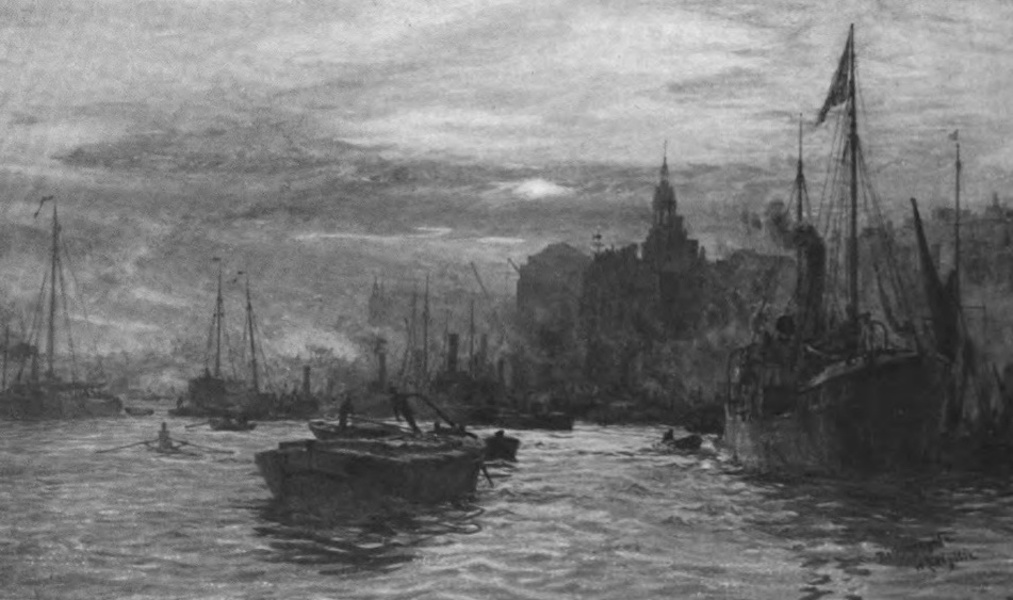 London to the Nore Painted and Described - Billingsgate Fish Market, with London Bridge and the Church of St. Magnus (1905)