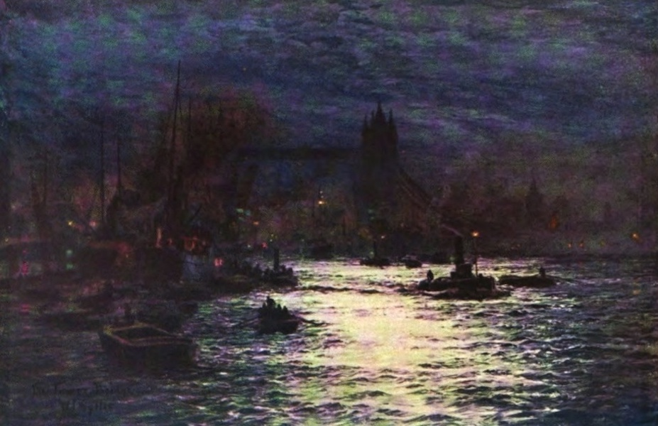London to the Nore Painted and Described - Tower Bridge, with the Bascules up for the Passage of Ships (1905)