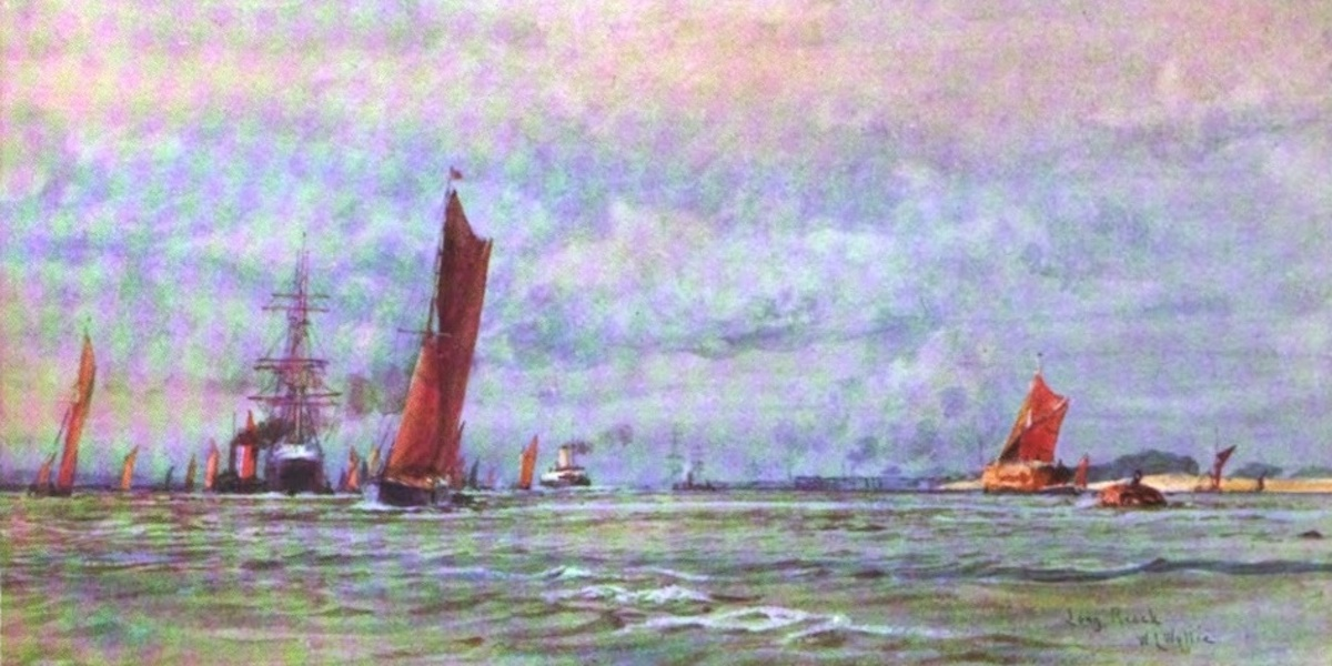 London to the Nore Painted and Described - Looking up Long Reach to Purfleet (1905)