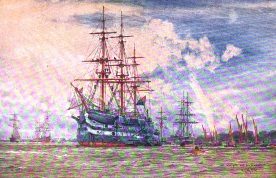 London to the Nore Painted and Described - Warspite and