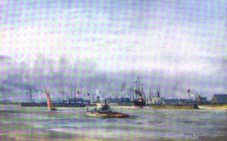 London to the Nore Painted and Described - Allan Liner entering Tilbury Dock (1905)