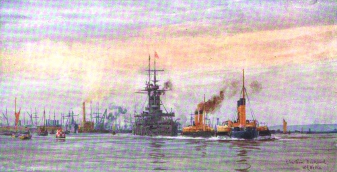 London to the Nore Painted and Described - Chatham Dockyard : Battle-ship putting to Sea (1905)