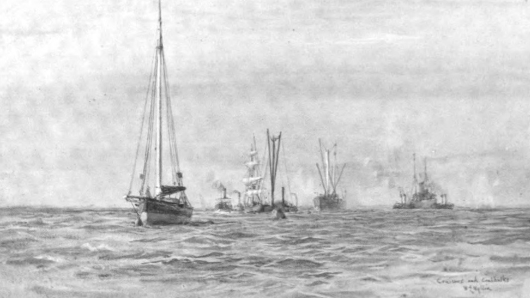London to the Nore Painted and Described - Cruisers and Coal-hulks off Port Victoria (1905)