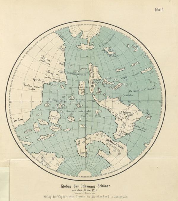 Magalhaes-Strasse und Austral-Continent - Globus des Johannes Schöner A.D Jahare 1520 (1881)