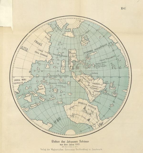 Magalhaes-Strasse und Austral-Continent - Globus des Johannes Schöner A.D Jahare 1515 (1881)
