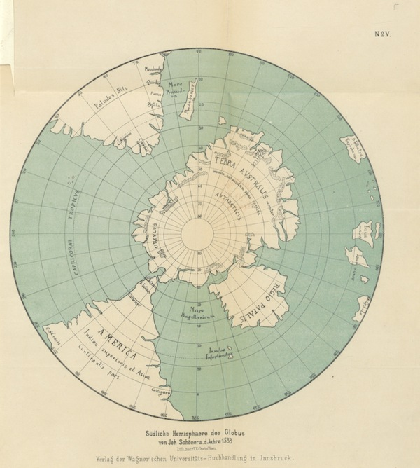Magalhaes-Strasse und Austral-Continent - Südliche Hemisphaere des Globus von Johannes Schöner A.D Jahare 1533 (1881)