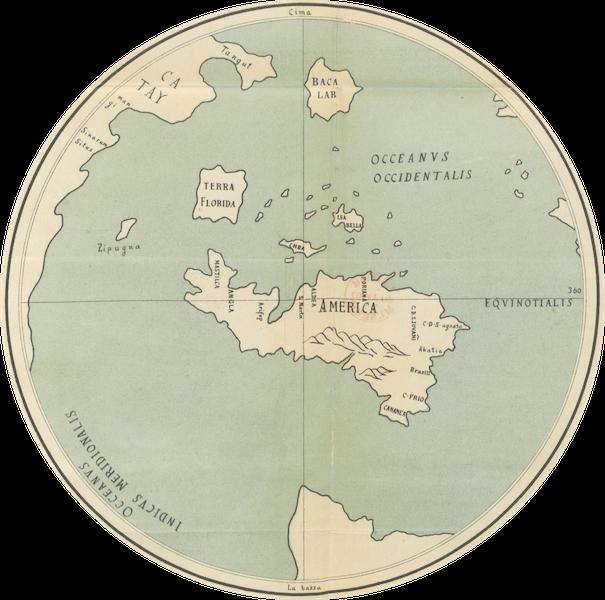 Magalhaes-Strasse und Austral-Continent - Westliche Hemisphaere nach der Weltkarte des Lionardo da Vinci (1881)