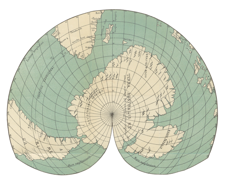 Magalhaes-Strasse und Austral-Continent - Südliche Hemisphaere der Weltkarte des Orontius Finaeus A.D Jahare 1531 (1881)
