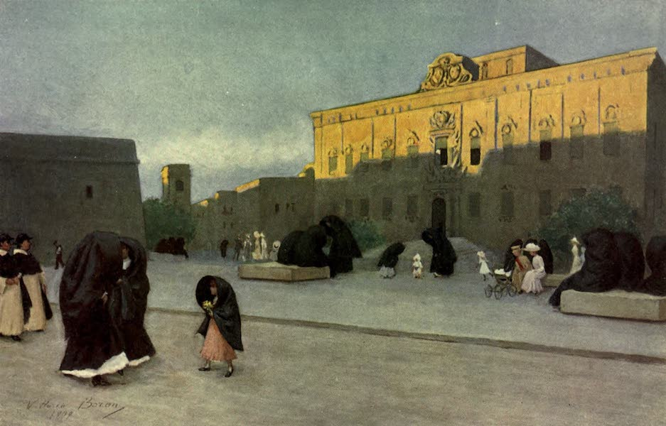Malta, Painted and Described - Piazza Regina, Valletta, at Sunset (1910)