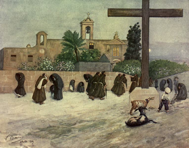Malta, Painted and Described - After Sunset at the Capuchin Convent, Floriana (1910)