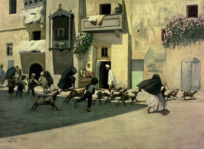 Malta, Painted and Described - A Typical Corner in a Popular Quarter of Valletta (1910)