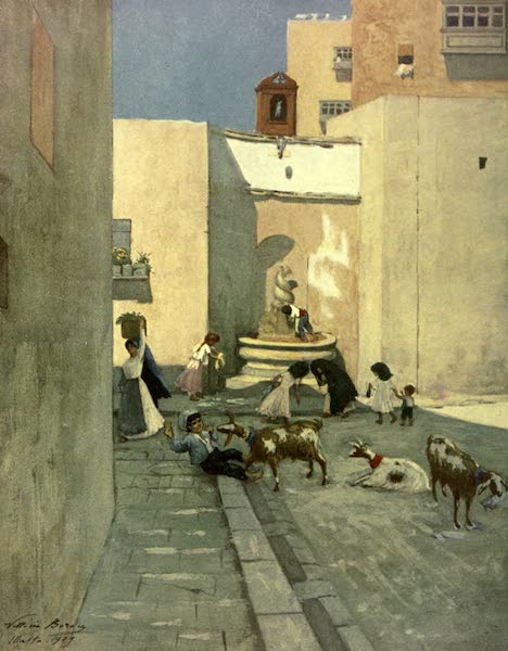 Malta, Painted and Described - A Fountain in a Popular Quarter, Valletta (1910)