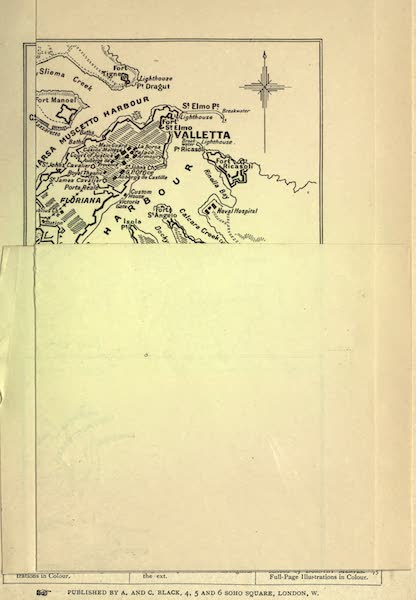 Malta, Painted and Described - Sketch Map of Malta and Gozo with Valletta (1910)