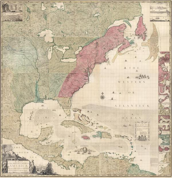 Map of the British Empire in America - A Map of the British Empire in America with the French and Spanish Settlements adjacent thereto. by Henry Popple. (1746)