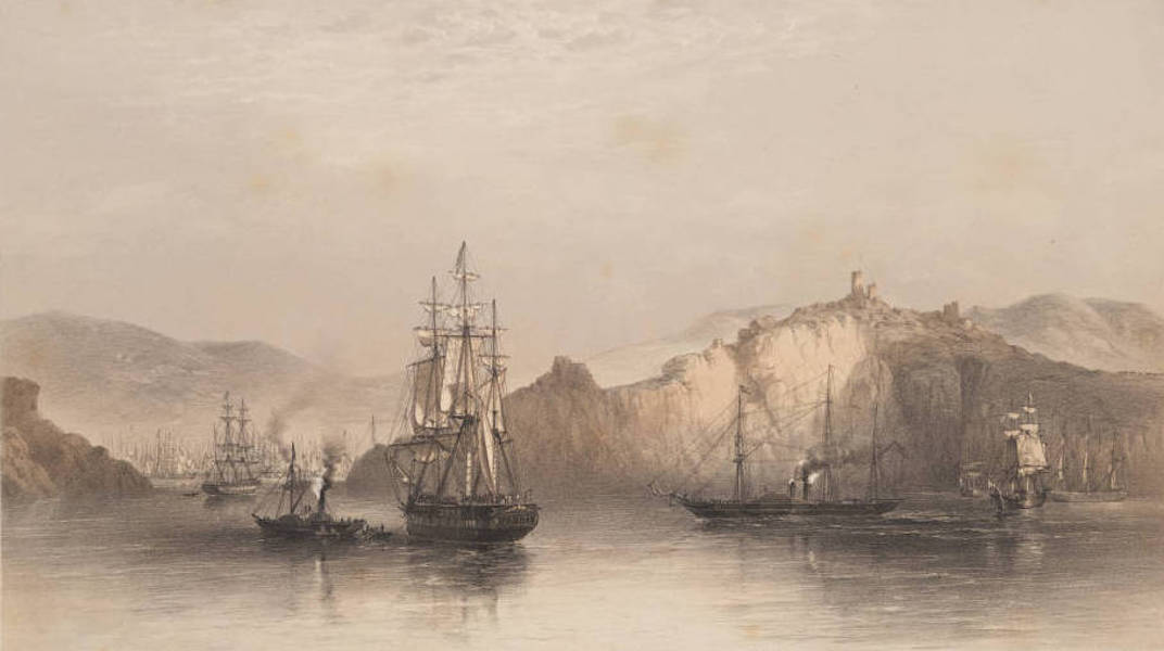 Marine and Coast Sketches of the Black Sea, Sea of Azoff &c. - Troop Ships Becalmed off Balaklava, Morning (1856)