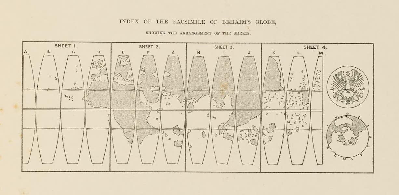Martin Behaim, His Life and His Globe - Index of the Facsimile of Behaim's Globe (1908)