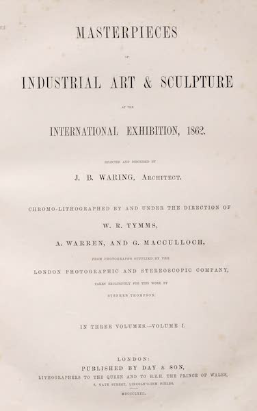Masterpieces of Industrial Art & Sculpture Vol. 1 - Title Page (1863)