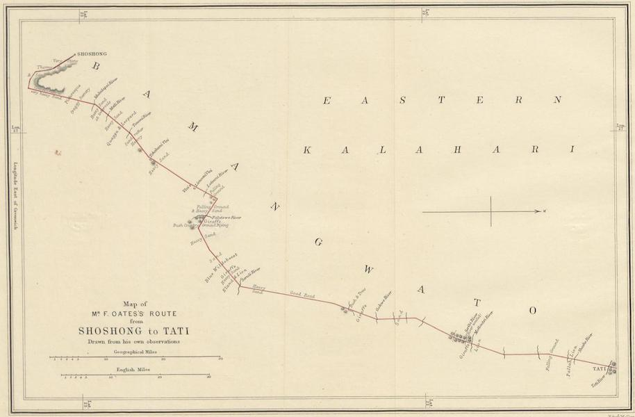 Matabele Land and the Victoria Falls - Map of Mr. F. Oates's Route from Shoshong to Tati (1881)