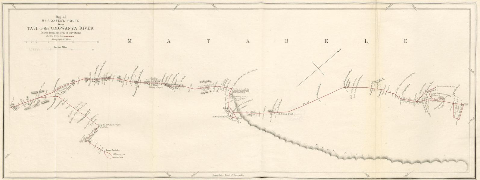 Matabele Land and the Victoria Falls - Map of Mr. F. Oates's Route from Tati to the Umgwanya River (1881)