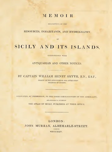 English - Memoir Descriptive of the Resources, Inhabitants, and Hydrography, of Sicily