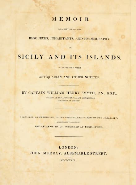 Memoir Descriptive of the Resources, Inhabitants, and Hydrography, of Sicily - Title Page (1824)