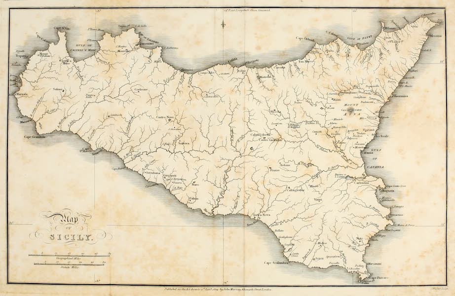 Memoir Descriptive of the Resources, Inhabitants, and Hydrography, of Sicily - Map of Sicily (1824)