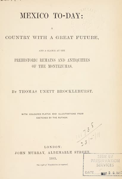 Mexico To-Day - Title Page (1883)