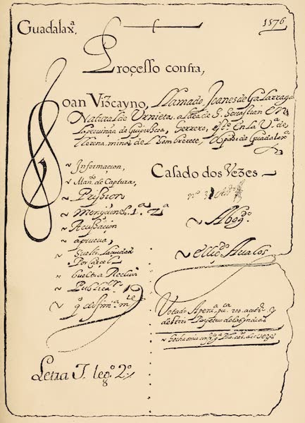 Mexico To-Day - Facsimile of Heading of Inquisition Manuscript (1883)