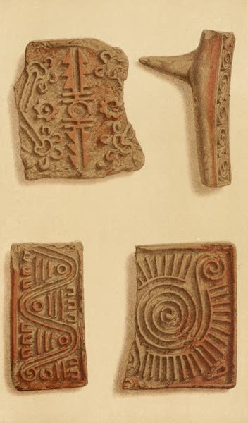 Mexico To-Day - Clay Moulds found at Teotihuacan (exact size) (1883)