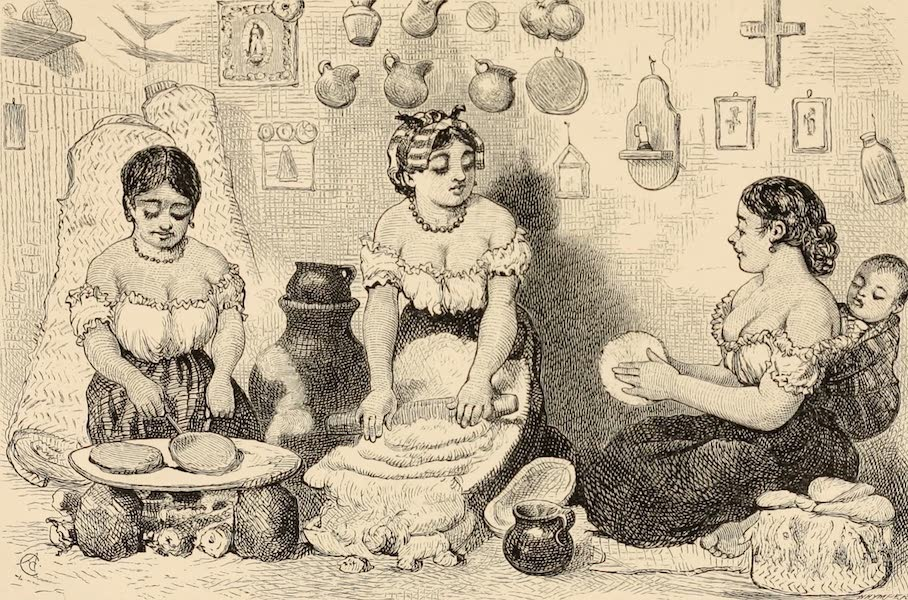 Mexico To-Day - Making Tortilla Cakes (1883)