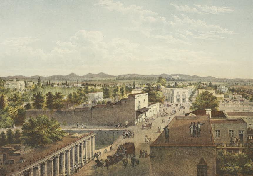 Mexico y sus Alrededories - La Villa de Tacubaya tomada a ojo de Pajaro Sobre del Camino de Toluc (1869)